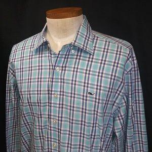Vineyard Vines L/S Plaid Whale Men's Shirt